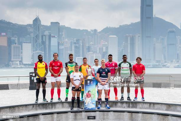 Men's captains from the Cathay Pacific/HSBC Hong Kong Sevens 2017 teams pose for photos against Hong Kong Island skyline prior to the Hong Kong Rugby...
