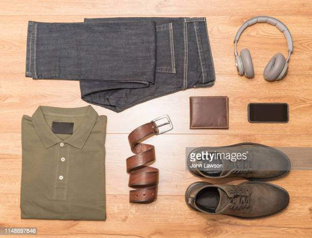 men's casual clothing - brown belt stock pictures, royalty-free photos & images