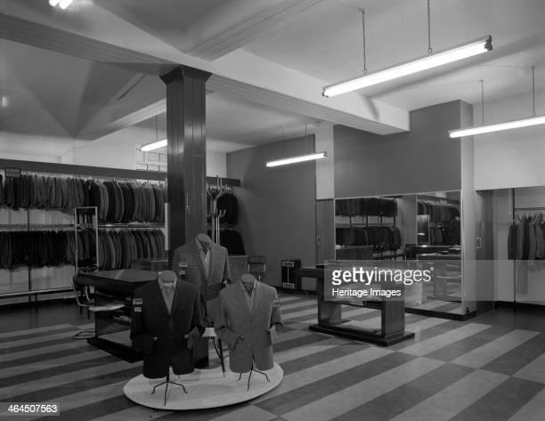 Mens clothes shop interior Alexandre of Oxford Street Mexborough South Yorkshire 1963 The interior of the Mexborough branch of Alexandre of Oxford...