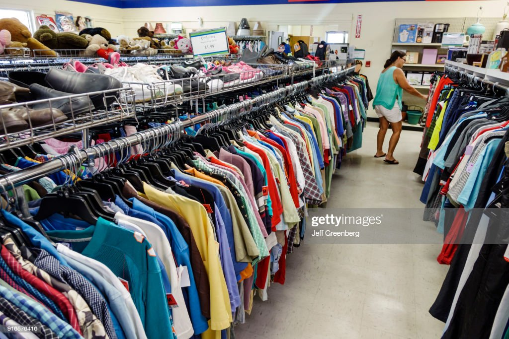 Men's clothing for sale inside Goodwill Industries. : News Photo