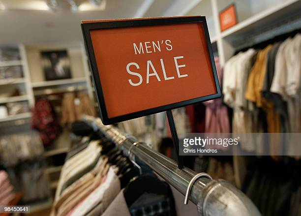 Men's clothing hangs on a rack on sale at a clothing store in midtown Manhattan April 14 2010 in New York City Retail sales increased 16 percent in...