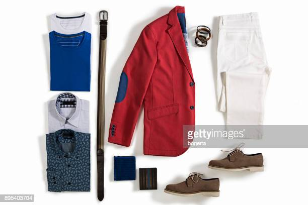 men's clothing isolated on white background - white pants stock pictures, royalty-free photos & images