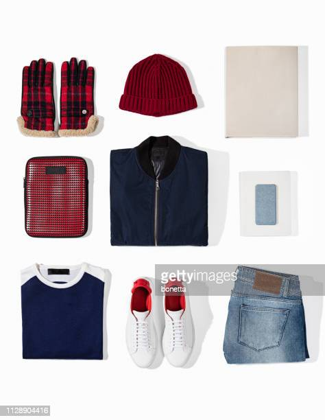men's clothing with personal accesorries isolated on white background - flat lay stock pictures, royalty-free photos & images