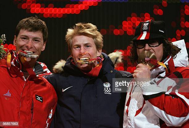 Men's combined alpine skiing bronze medal winner Ivica Kostelic of Croatia, gold medal winner Ted Legety of the United States and bronze medal winner...
