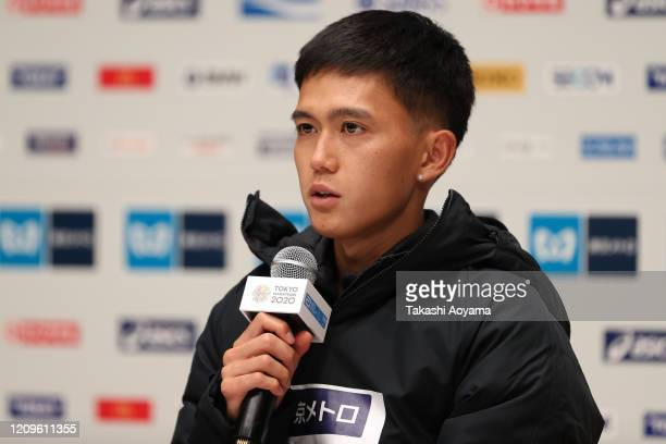 Men's competition fourth place and new Japanese national record holder Suguru Osako of Japan speaks to the media after the awards ceremony following...