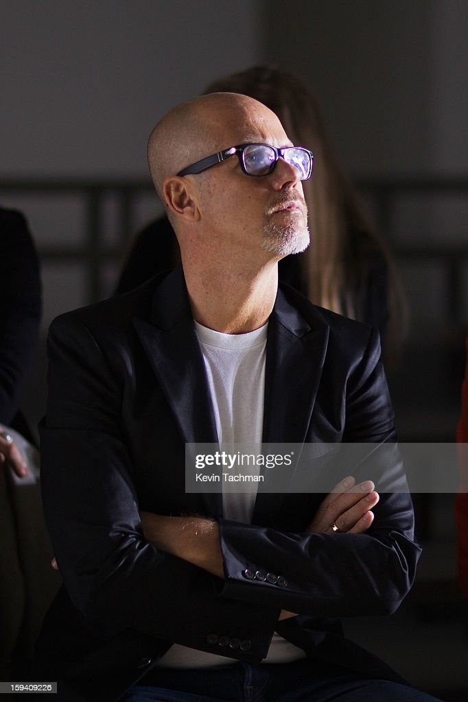 Men's Creative Director of Calvin Klein Collection Italo Zucchelli directs backstage prior to the Calvin Klein Collection show as part of Milan Fashion Week Menswear Autumn/Winter 2013 on January 13, 2012 in Milan, Italy.