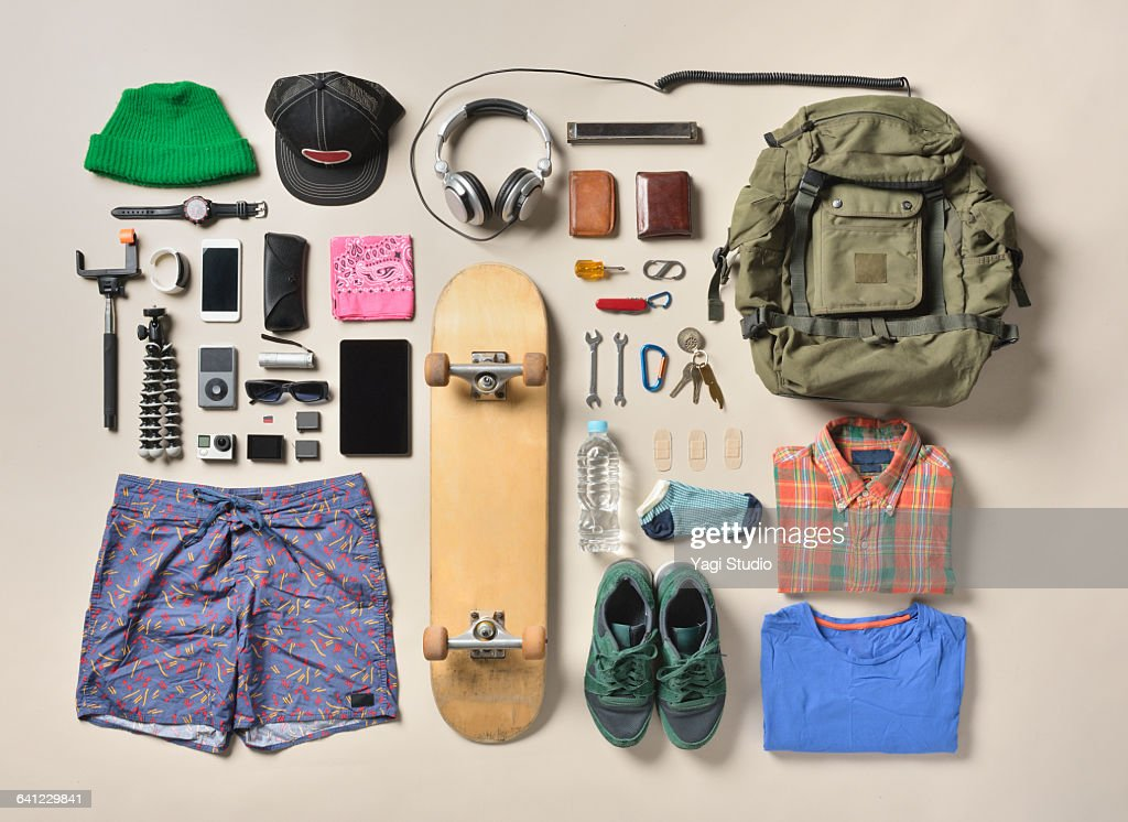 Men's daily supplies shot knolling style. : Stock Photo