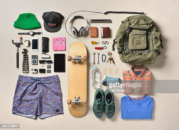 men's daily supplies shot knolling style. - man made stock pictures, royalty-free photos & images