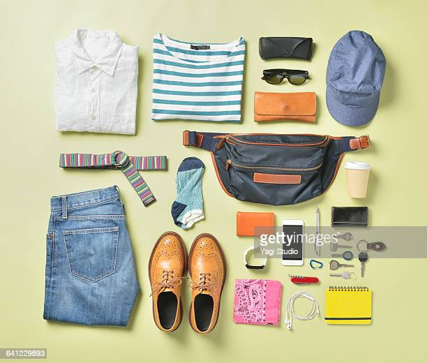 men's daily supplies shot knolling style. - white pants stock pictures, royalty-free photos & images