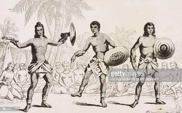 Men's dance Hawaii Islands engraving by Danvin and Montant from Oceanie ou Cinquieme partie du Monde Revue Geographique et Ethnographique de la...