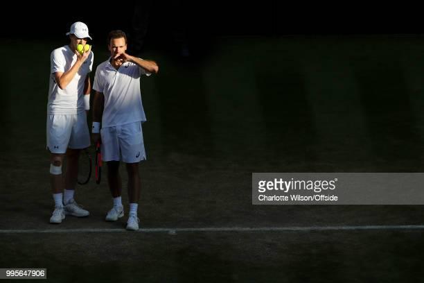 Mens Doubles - Raven Klaasen & Michael Venus v Jamie Murray & Bruno Soares - Jamie Murray and Bruno Soares discuss tactics at All England Lawn Tennis...