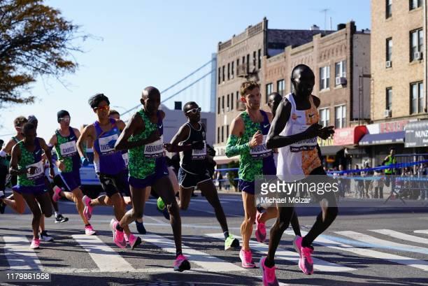 Mens Elite Group in front of the Verrazino Bridge during 2019 TCS New York City Marathon in New York City on November 3, 2019 in New York City.