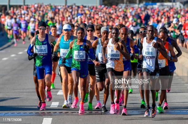 Men's elite runner make their way over the Verrazzano-Narrows bridge during the running of the 2019 TCS New York City Marathon November 3, 2019 in...