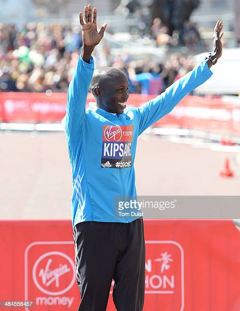 Men's Elite winner Wilson Kipsang of Kenya celebrates after the Virgin Money London Marathon on April 13 2014 in London England