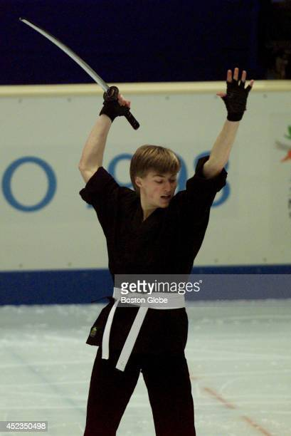 Men's figure skating gold medalist Ilia Kulik goes through his routine at the White Ring during exhibition skating
