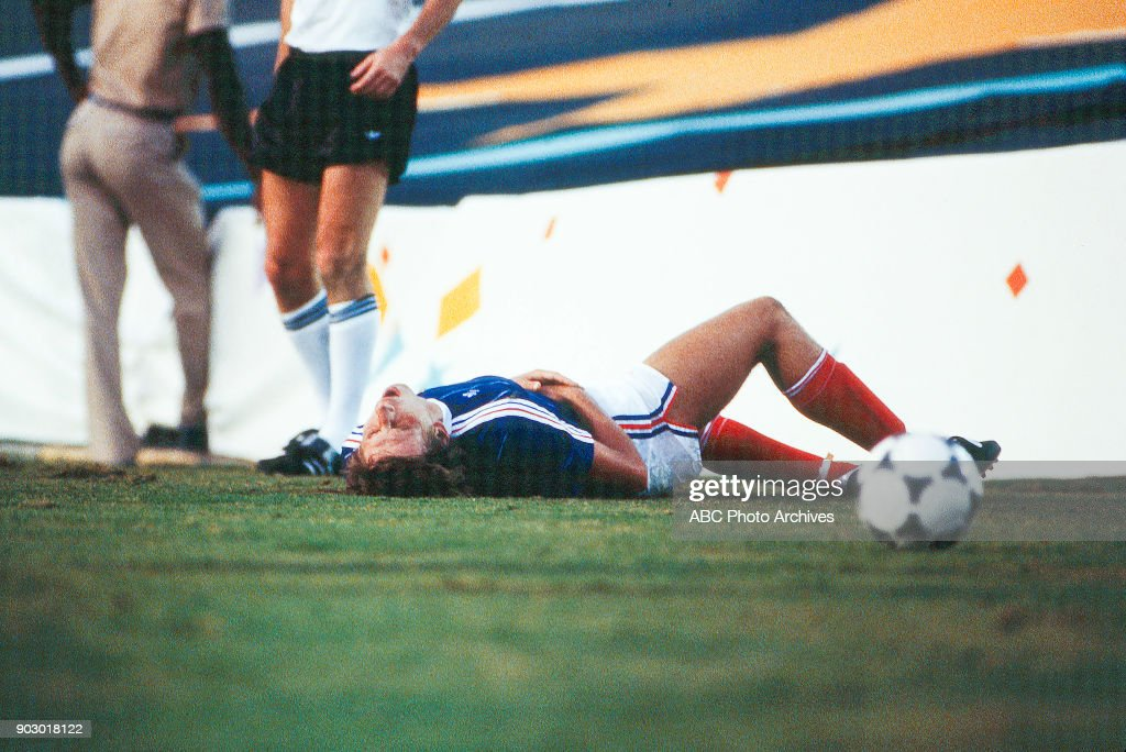 Men's Football / soccer competition, Yugoslavia vs. France, Rose Bowl, at the 1984 Summer Olympics, August, 1984.