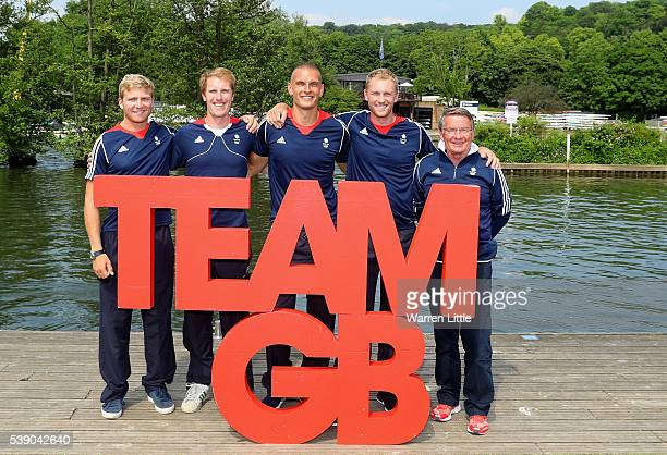 Men's Fours Constantine Louloudis George Nash Mohammed Sbihi Alex Gregory and coach Jürgen Grobler OBE of Great Britain pose for a picture after an...