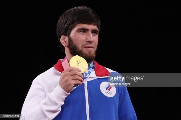 Men's Freestyle 57kg gold medalist Zavur Uguev of Team ROC poses with his medal during the Victory Ceremony on day thirteen of the Tokyo 2020 Olympic...