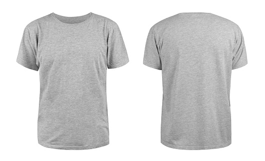 Men's grey blank T-shirt template,from two sides, natural shape on invisible mannequin, for your design mockup for print, isolated on white background 1134011734