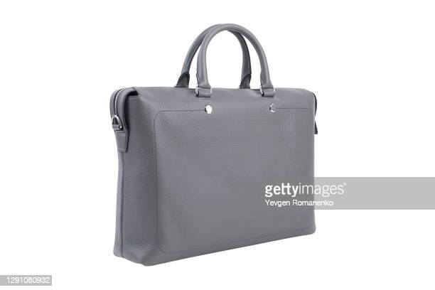 mens grey leather briefcase isolated on white background - handbag stock pictures, royalty-free photos & images