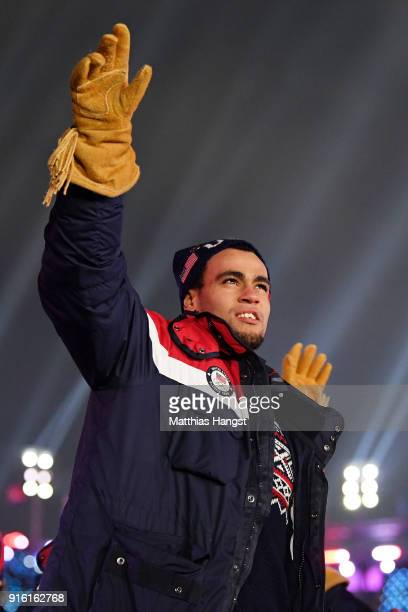 Men's hockey player Jordan Greenway is seen during the Opening Ceremony of the PyeongChang 2018 Winter Olympic Games at PyeongChang Olympic Stadium...