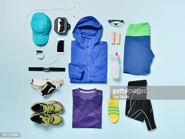 men's jogging supplies shot knolling style. - sports equipment stock pictures, royalty-free photos & images