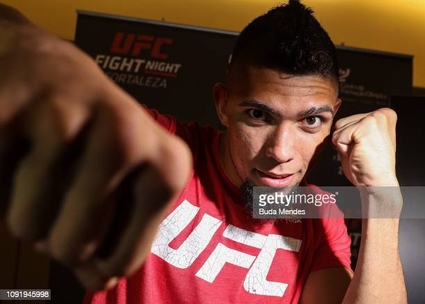 UFC men's light heavyweight contender Johnny Walker of Brazil interacts with media during UFC Fight Night Assuncao v Moraes 2 ultimate media day at...