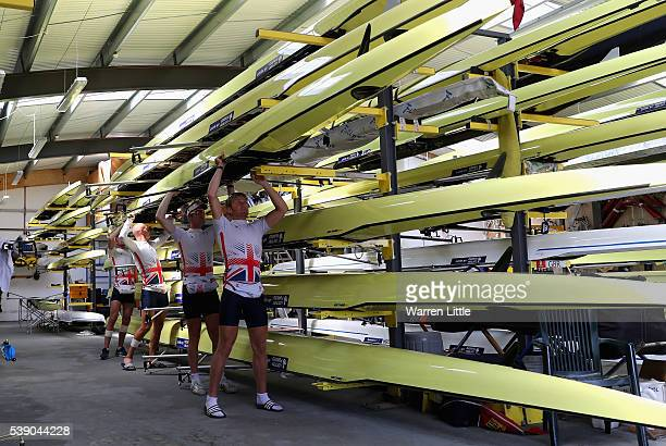 Men's Lightweight Double Scull led by Constantine Louloudis followed by George Nash Mohammed Sbihi Alex Gregory prepare to train ahead of an...