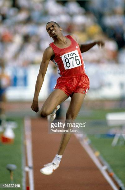 Men's long jump bronze medallist Mike Conley of the United States in action during the World Athletics Championships in Helsinki Finland circa August...