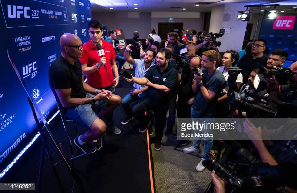UFC men's middleweight Anderson Silva of Brazil speaks to the media during Ultimate Media Day on May 09 2019 in Rio de Janeiro Brazil