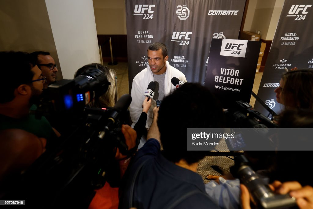 UFC men's middleweight contender Vitor Belfort of Brazil speaks to the media during Ultimate Media Day on May 10, 2018 in Rio de Janeiro, Brazil.