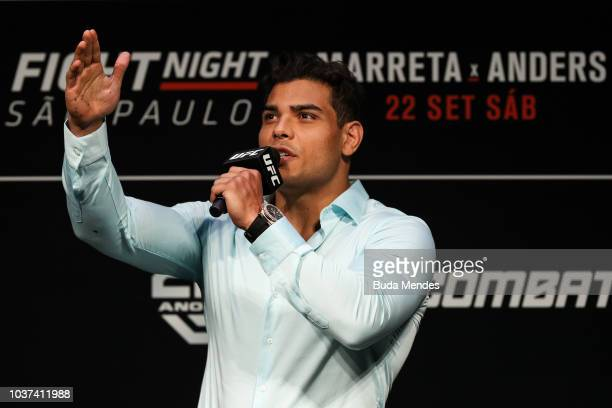 Men's middleweight fighter Paulo Costa of Brazil interacts with fans during a QA session before the UFC Fight Night weighin at Ibirapuera Gymnasium...