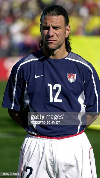 US Men's National Team defender Jeff Agoos poses in Birmingham Alabama 10 March 2002 The US team has qualified for the Korea Japan 2002 World Cup AFP...