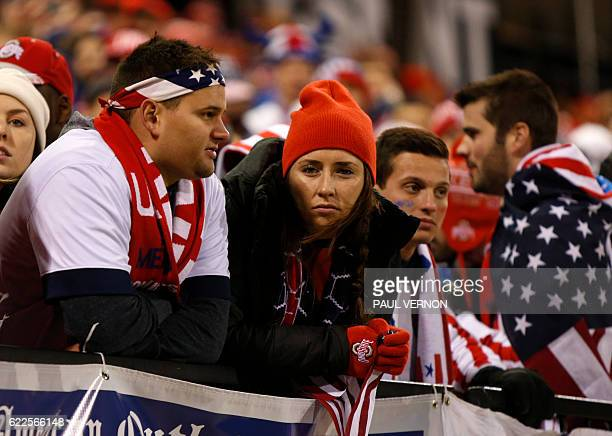 US men's national team fans are seen following the team 21 loss to the Mexico men's national team during the 2018 FIFA World Cup qualifying match in...