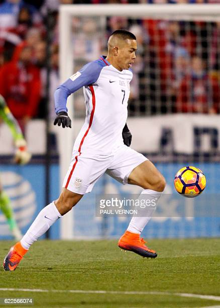 US men's national team forward Bobby Wood works against the Mexico men's national team during the 2018 FIFA World Cup qualifying match in Columbus...