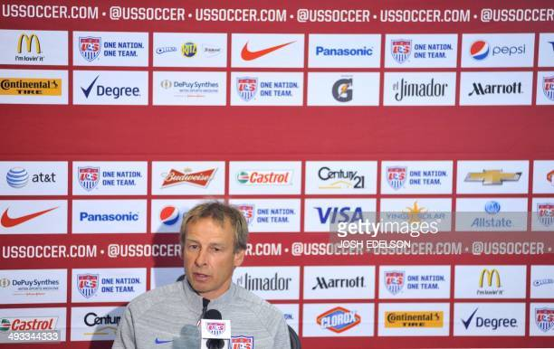 US Men's National Team Head Coach Jurgen Klinsmann answers questions at a press conference in Stanford California on May 23 2014 after announcing...