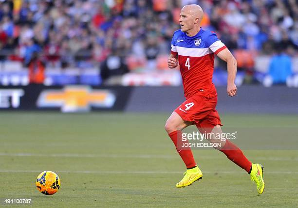 US men's national team mdfielder Michael Bradley moves the ball during a World Cup preparation match against Azerbaijan at Candlestick Park in San...