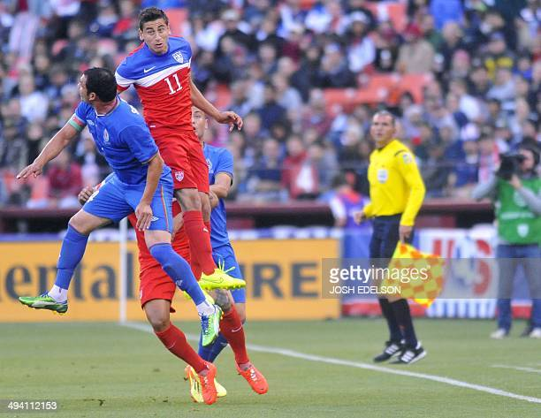 US men's national team player Alejandro Bedoya jumps for the ball during a World Cup preparation match against Azerbaijan at Candlestick Park in San...