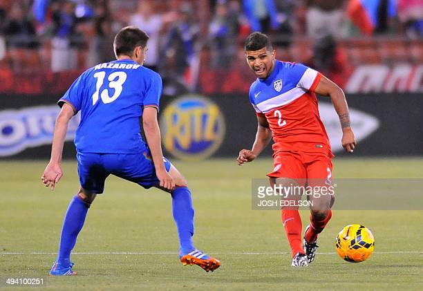 US men's national team player DeAndre Yedlin controls the ball during a World Cup preparation match against Azerbaijan at Candlestick Park in San...