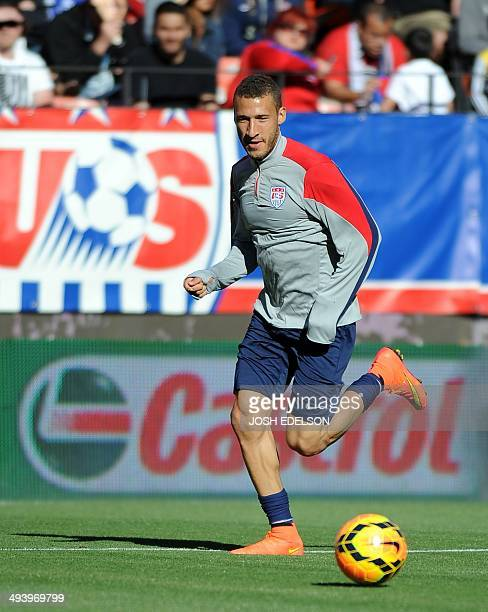 US men's national team player Fabian Johnson controls the ball during a practice session at Candlestick Park in San Francisco on May 25 2014 on the...