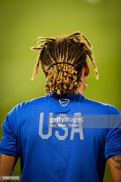 US Men's National Team player Jermaine Jones shows his dreads and USA during the Soccer 2015 US Men's National Soccer team vs Costa Rica on October...