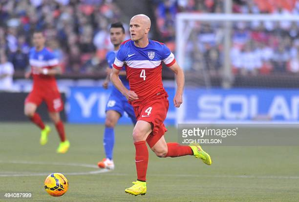 US men's national team player Michael Bradley runs with the ball during a World Cup preparation match against Azerbaijan at Candlestick Park in San...