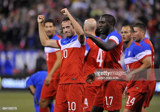 US men's national team player Mix Diskerud celebrates after scoring the first goal against Azerbaijan during a World Cup preparation match at...