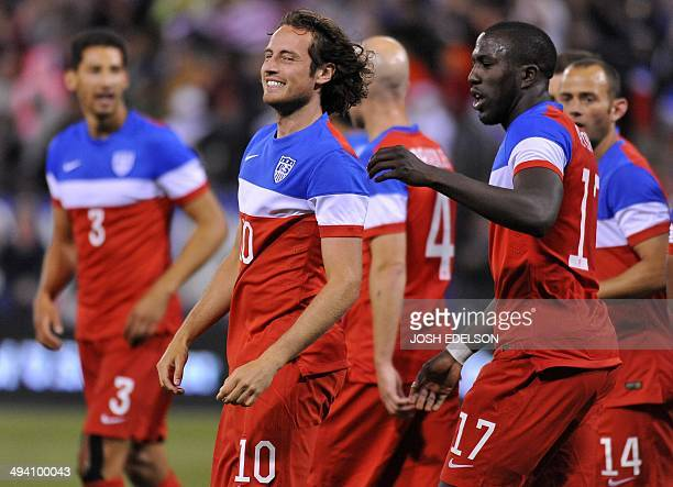 US men's national team player Mix Diskerud smiles after scoring the first goal against Azerbaijan during a World Cup preparation match at Candlestick...