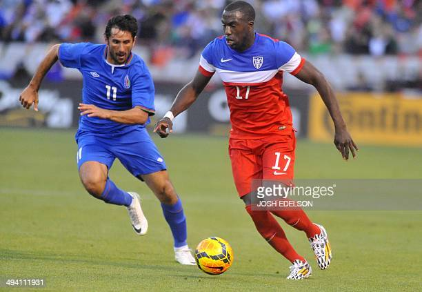 US men's national team striker Jozy Altidore fights for the ball during a World Cup preparation match against Azerbaijan at Candlestick Park in San...