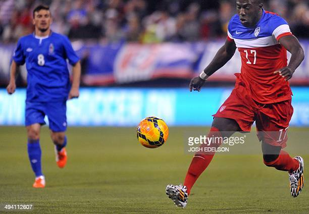 US men's national team striker Jozy Altidore fights for the ball during a World Cup preparation football match against Azerbaijan at Candlestick Park...