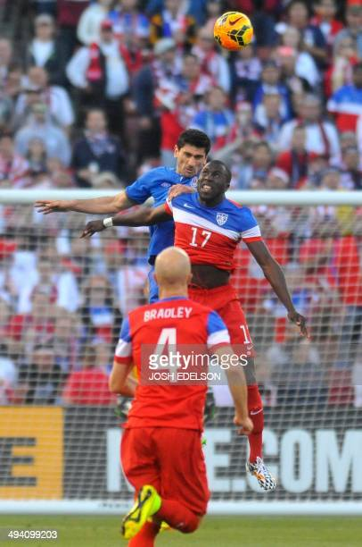 US men's national team striker Jozy Altidore jumps for the ball during a World Cup preparation match against Azerbaijan at Candlestick Park in San...