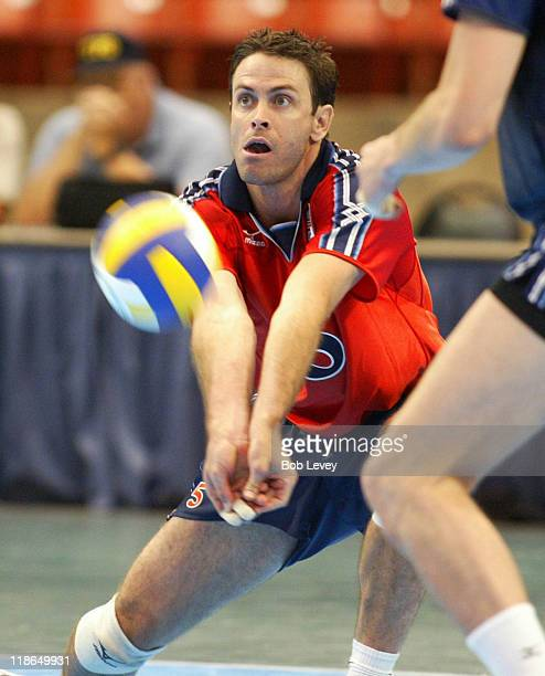 Men's National Volleyball team take on the Russian team at Reliant Arena in a set of exhibition matches on June 25, 2004 in Houston, Texas.