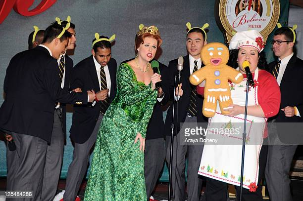 Men's Octet and Princess Fiona and Gingy the Gingerbread Man from Shrek the Musical perform at the Macy's Great Tree Lighting Ceremony on November...