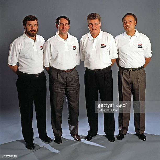 Men's Olympic Basketball Team Coaches from left to right assisttant coaches PJ Carlesimo and Mike Krzyzewski Head Coach Chuck Daly and assisttant...